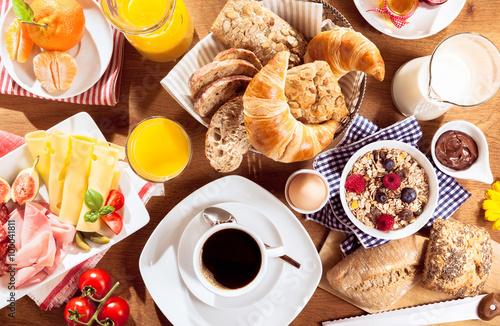 Fotografía Top view of breakfast