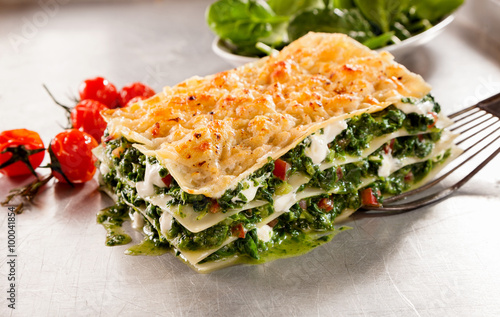 Healthy spinach and cheese Italian lasagne