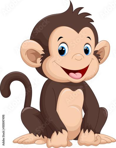 Fototapeta premium Śliczna małpa kreskówka