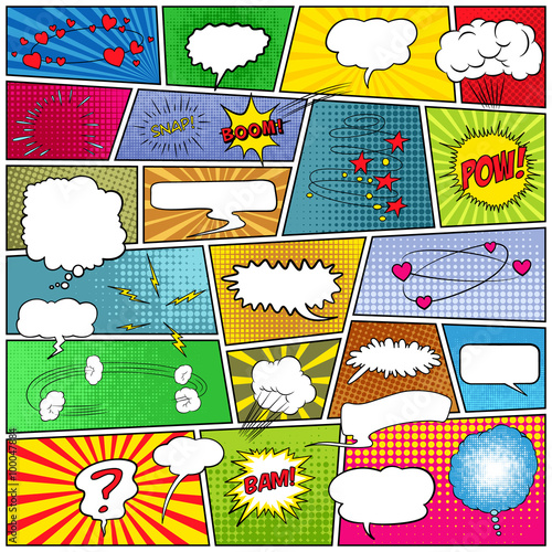 plakat Abstract set of comic template