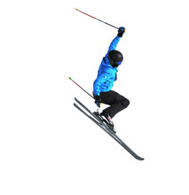 Freeride Skier Jumping Isolated On White