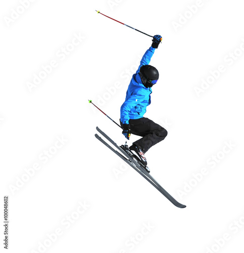 Photo  freeride skier jumping isolated on white