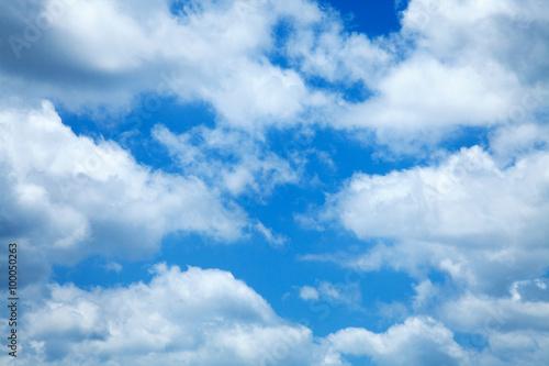 Fényképezés  Blue Sky White Clouds Background Cloudy Skies Texture Skyscape P