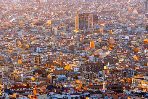View over Barcelona in Spain at sunrise Canvas Print