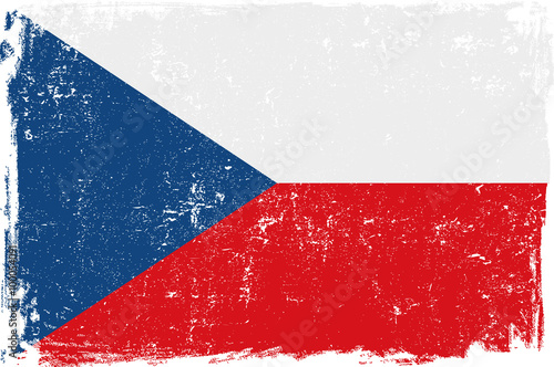 Czech Vector Flag on White Wallpaper Mural