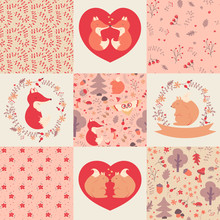 Baby Girl Patterns And Illustrations. Vector Collection.