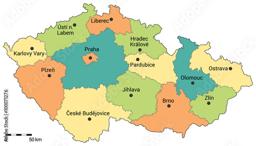 Photo Czech republic administrative map