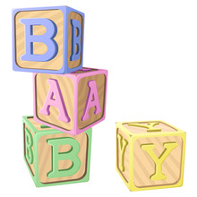 """Vector Illustration Of Pastel-colored Alphabet Blocks Spelling Out The Word """"BABY."""""""