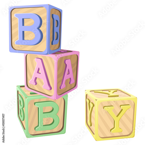 Vector Illustration Of Pastel Colored Alphabet Blocks Spelling Out