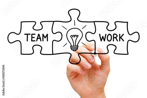 Teamwork Great Idea Puzzle Concept Canvas-taulu