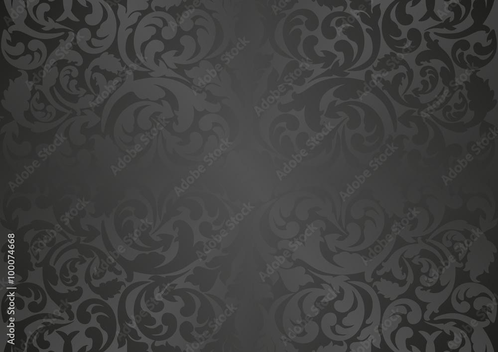 Fototapeta black background with antique ornaments