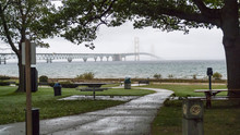 View Of Bridge From Michilimackinac State Park