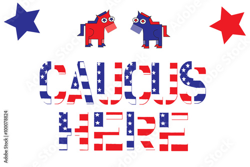 Fototapeta Election 2016 political sign for Democrat caucus with party mascot