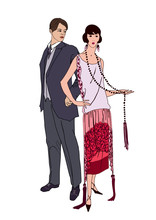 Couple On Party. Flapper Girl ...