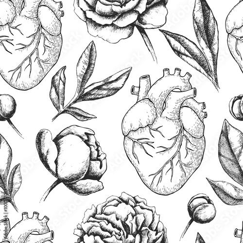 Materiał do szycia Wektor wzór z anatomiczne ludzkiego serca i botanica