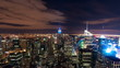 Panning shot of New York cityscape time-lapse from the Rockefeller building.