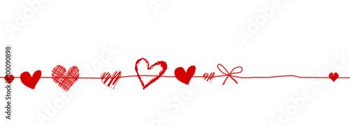 Photo  Herzen Band Banner Schleife Hintergrund Rot Herz Etikett Anhänger