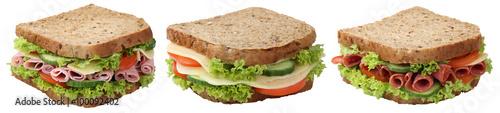 Poster Snack Collage Sandwiches Toasts zum Frühstück mit Salami Schinken K
