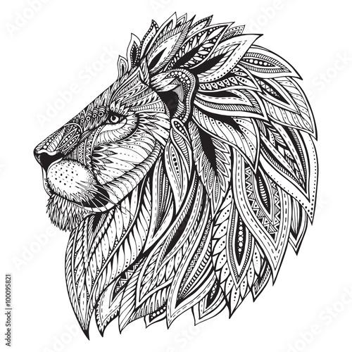 Plakaty czarno białe   ethnic-patterned-ornate-hand-drawn-head-of-lion