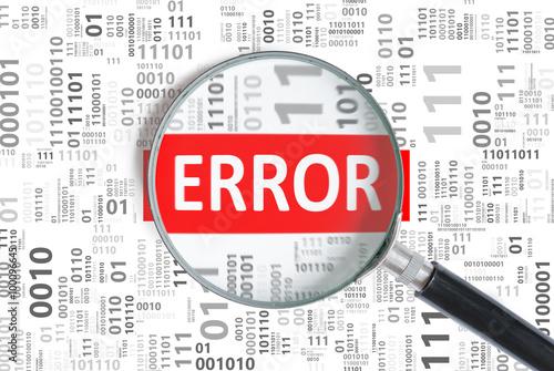 Magnifying glass found error in binary code.