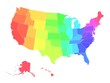 Multicolored vector map of USA