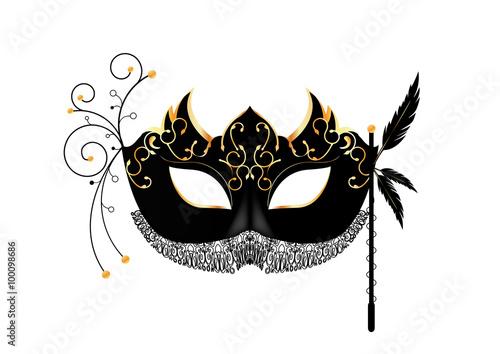 Photo  Masque vénitien - carnaval - noir et or