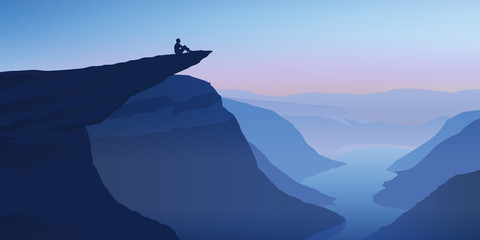 Fototapeta Wieloczęściowe Paysage Trolltunga-Norvège