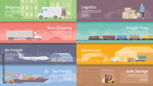 Fotografía  Flat vector web banner. Logistics.