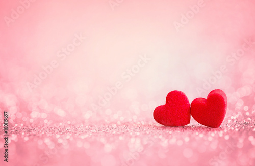 Fotografie, Obraz  red Heart shapes for valentines day background