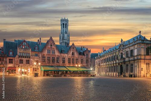 Deurstickers Brugge Central Bruges old town