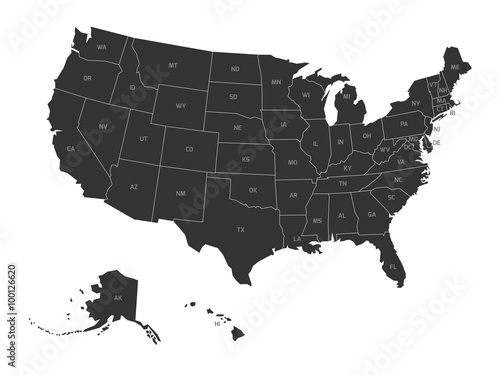 Map of USA with state abbreviations Canvas Print