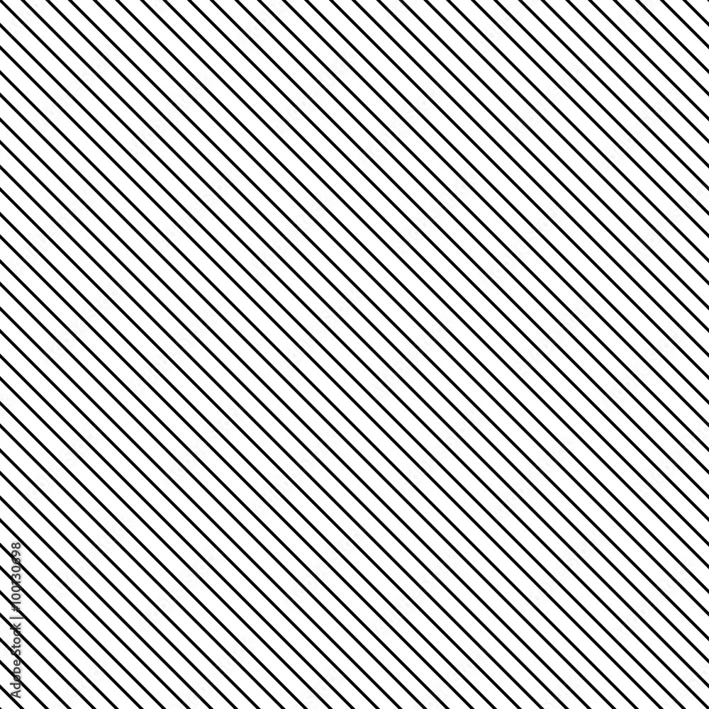 Fototapeta Diagonal stripe seamless pattern. Geometric classic black and white thin line background.