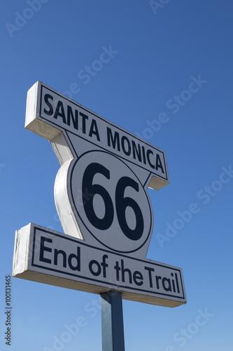 Keuken foto achterwand Route 66 Route 66 Road Sign at Santa Monica Pier