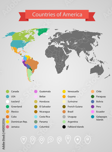 World map infographic template. Countries of America ...