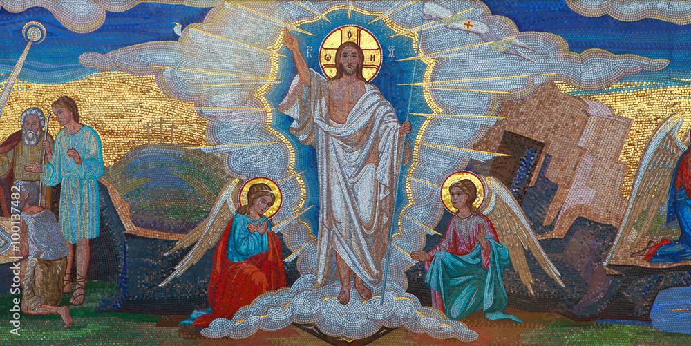 Foto  Religion. Mosaic of Saints. Orthodox church in Kirowograd Ukraine