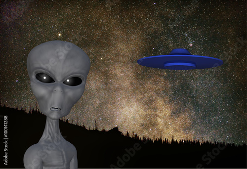 rendered illustration of an alien flying saucer with a background  of an astrono Poster