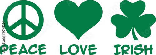 Fototapeta St. Patrick's Day - peace love irish obraz