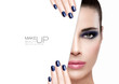 Beauty and Makeup Concept. Blue Nail Art and Make-up
