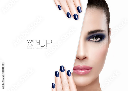 Beauty and Makeup Concept. Blue Nail Art and Make-up Poster