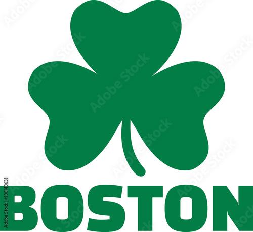 Fototapeta Boston with green shamrock obraz