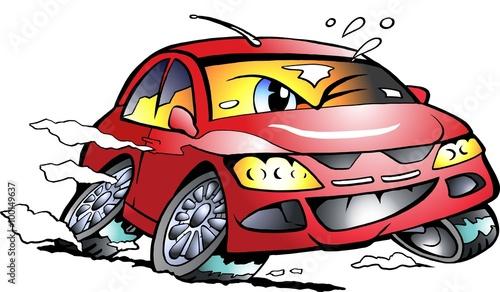 Staande foto Cartoon cars Vector Cartoon illustration of a red Sports Car Mascot racing in full speed