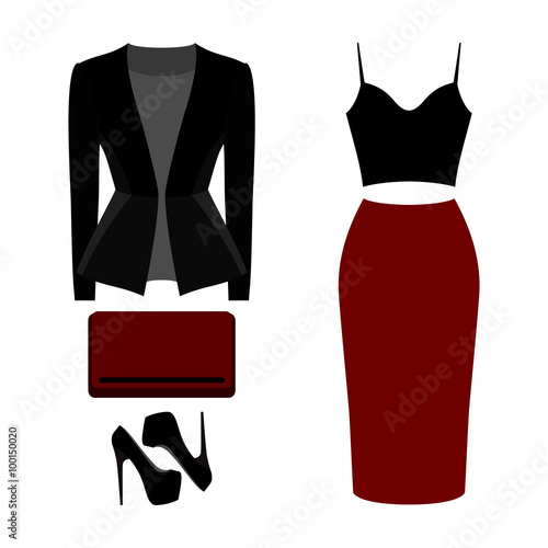 59da56f411acf Set of trendy women's clothes. Outfit of woman skirt, jacket, top and  accessories. Women's wardrobe. Vector illustration