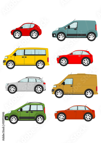 Staande foto Cartoon cars Set of cartoon cars on a white background. Vector