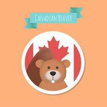 Vector Canadian Cute Beaver St...