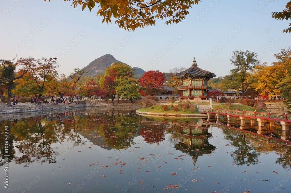 b3c54745c805d Wall Murals Fall colors at the Hyangwon Jeong Pavillion at the ...