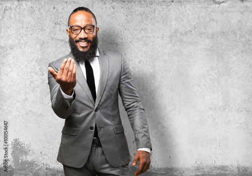 business black man come here gesture Canvas Print