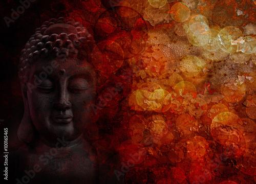 Tuinposter Boeddha Bronze Red Zen Buddha Statue Meditating Front