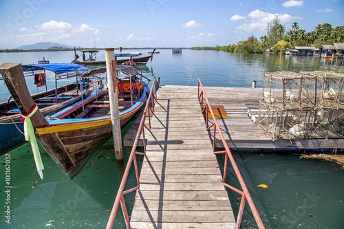 Fototapety, obrazy: Fishing Boats in the Harbor, krabi, Thailand