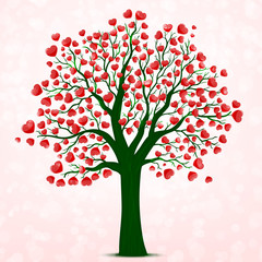 Red hearts tree vector