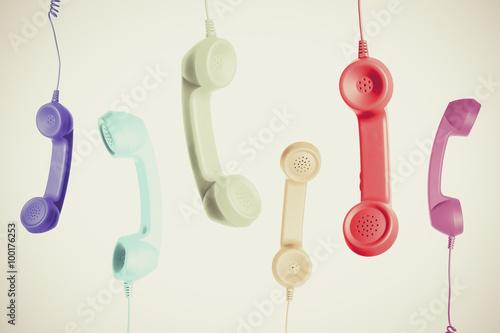 Obraz カラフルな電話の受話器 - fototapety do salonu